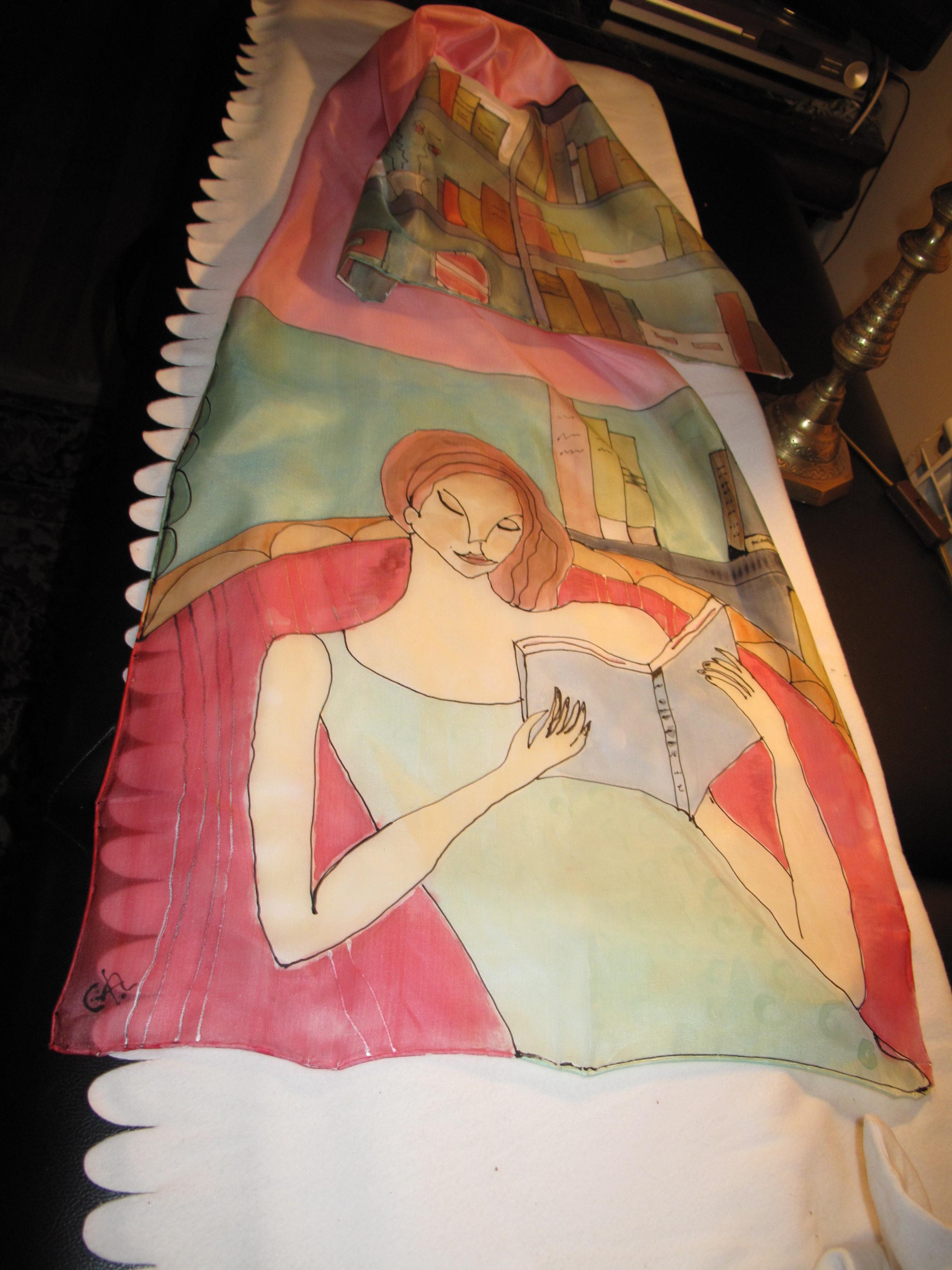 #VENDIDO Mujer leyendo Fular 140 x 45