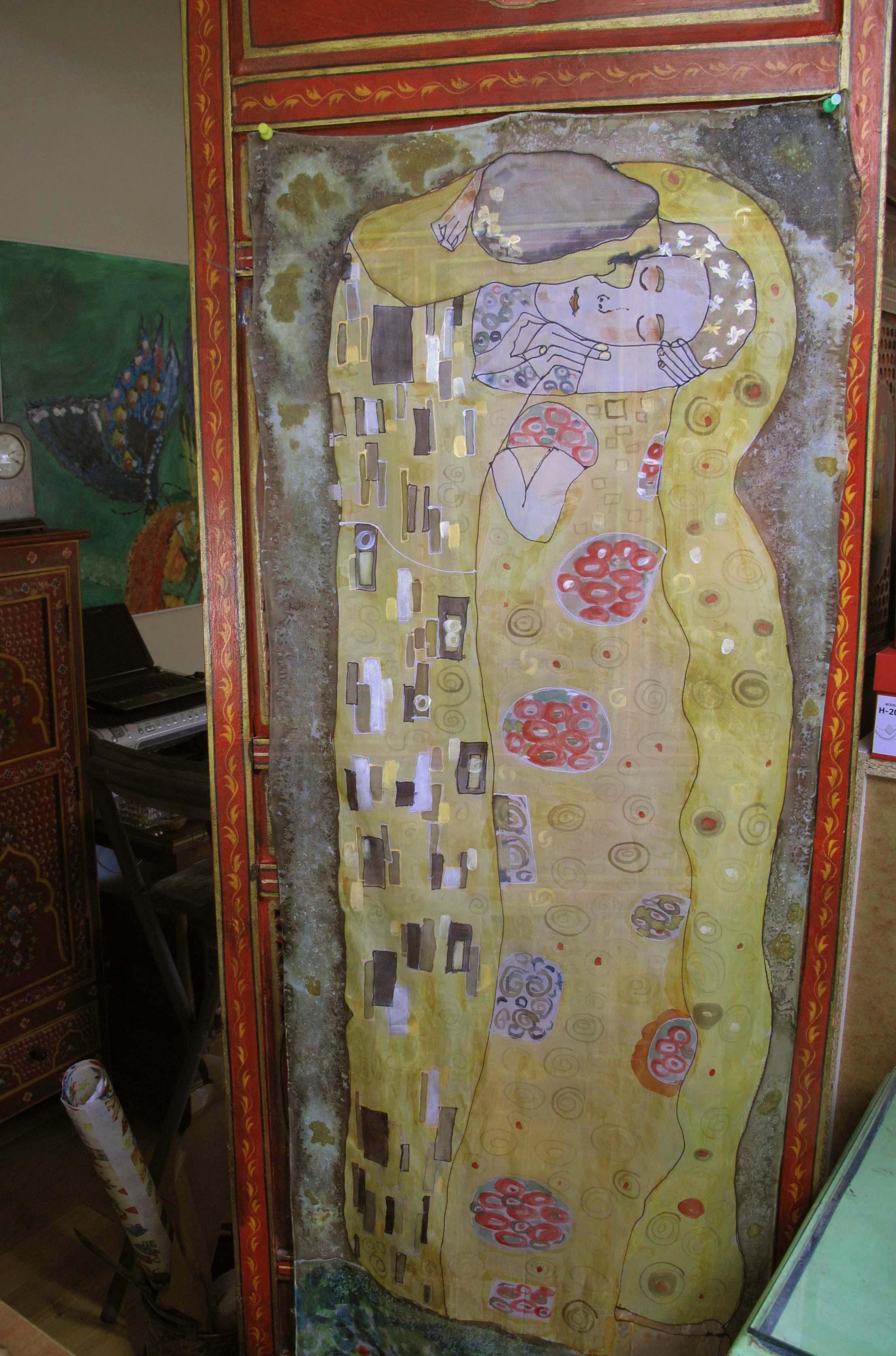El beso. Klimt (encargo) 140 x 45 (VENDIDO)