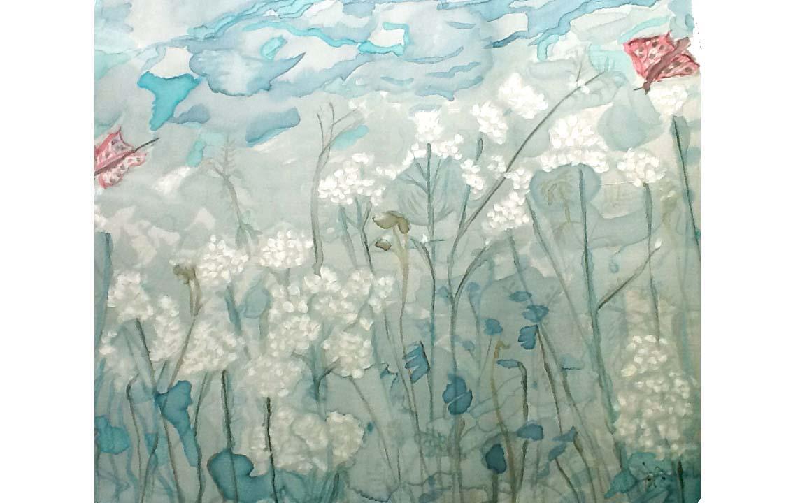 Pintura en Seda. Jardín Zen