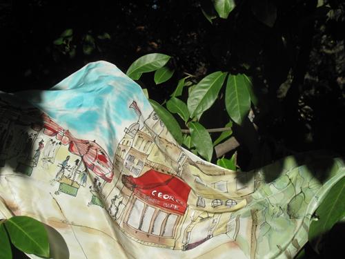 "VENDIDO ""Paseo por París"". Pintura en Seda. CHaro"