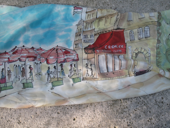 """""Paseo por París"". Pintura en Seda.CHaro"