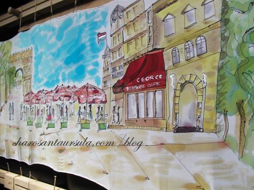"VENDIDO ""Paseo por París"". Pintura en Seda.CHaro"