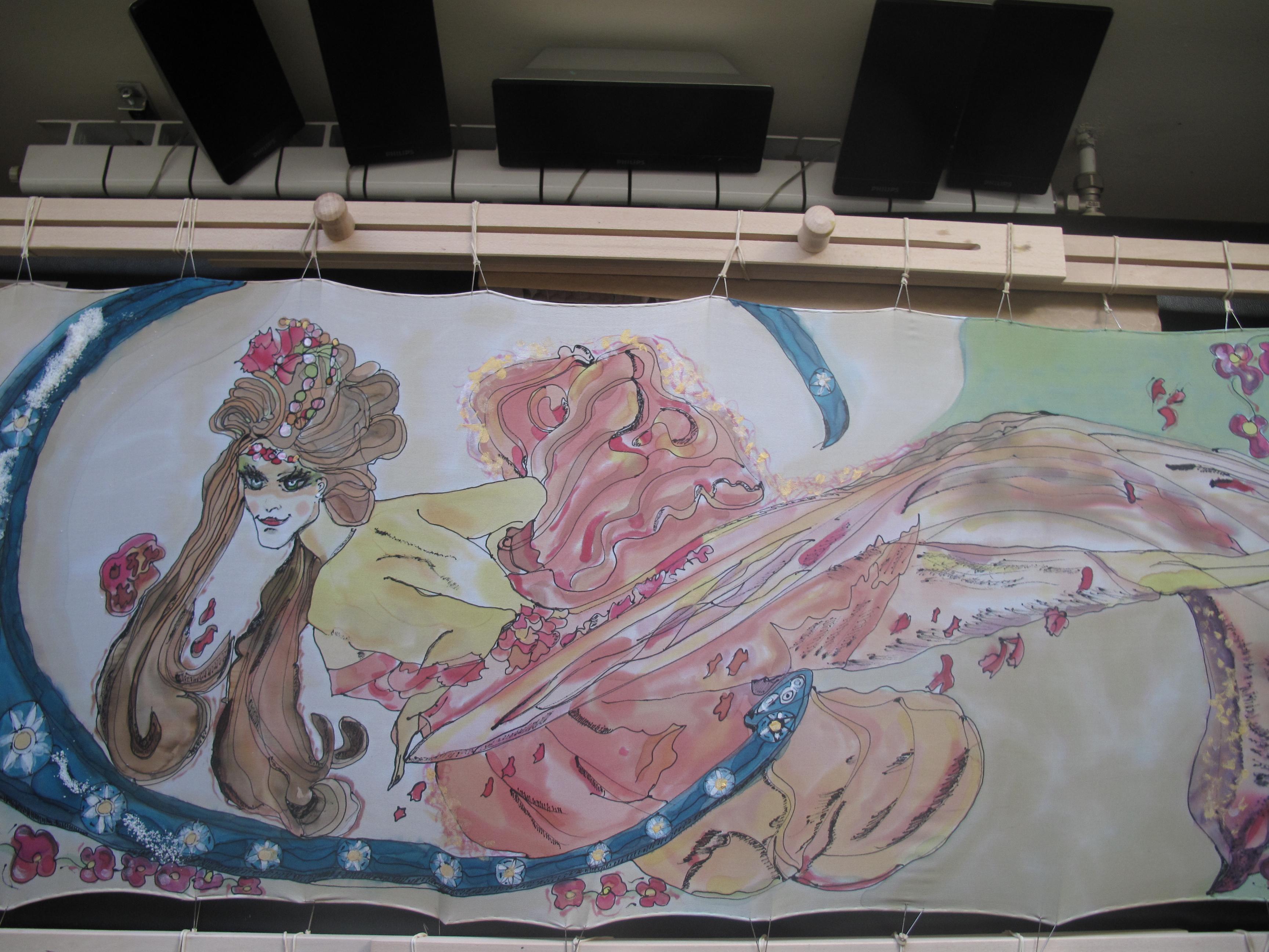 """Maléfica"" Pintura en Seda . Charo Santa Ursula"