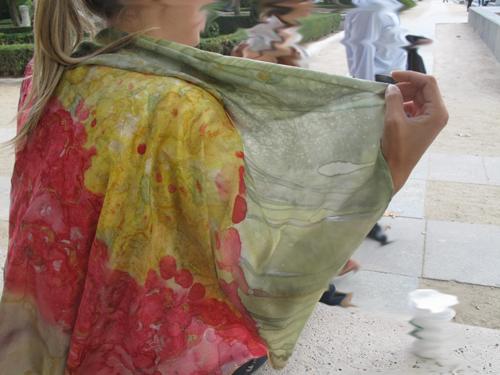 Pintura en Seda. Pañuelo cuadrado 100 x 100 cm
