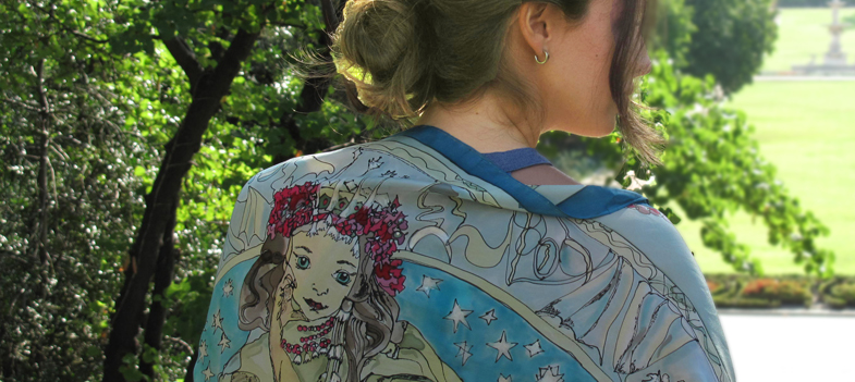Fular pintado sobre Seda artesanalmente